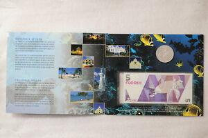 ARUBA 1995 25 FLORIN SILVER + BANKNOTE SET VERY RARE B18 CG25