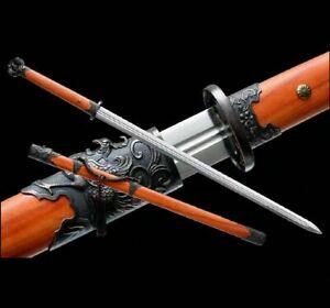 Handmade Wushu Sword Katana Sharp Carbon Steel Blade Kung Fu Tai Chi Jian Saber