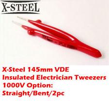 X-Steel 145mm VDE Insulated Electrician Tweezers 1000V Option:Straight/Bent/2pc