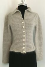 Agnes B Gray ribbed cropped cardigan Mohair sweater sz S