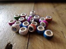 5PCS Perline in Legno Colorate charms Si Adatta a Bracciale Europeo Foro/Collana 5 mm