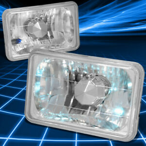 "4x6""4656 DIAMOND CUT SQUARE CHROME HOUSING CRYSTAL HEADLIGHT SET FOR PONTIAC/GMC"