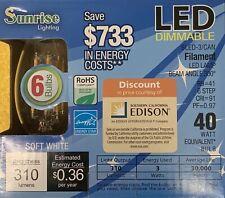 Sunrise LED Filament Light Bulb Lamp Uplight, 6 Bulbs, 3w=40w Mini Screw In Base