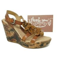 BOC Born Womens Slingback Wedge Sandals Size 7 Brown Leather Flowers C54102