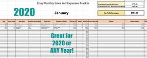 2020 Ebay Spreadsheet, Sales and Expenses Tracker for 12 Months and overall Year