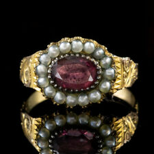 Antique Georgian Garnet Pearl Ring 18ct Gold Circa 1800