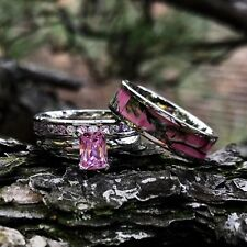 3pc Pink Camo Stainless Steel Band 925 Sterling Silver Wedding Ring Set