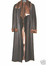 LADIES' WOMEN'S NAPPA LEATHER FUR LINED COAT RAINCOAT CHOCOLATE BROWN SIZE S/M