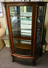Antique Oak Curved Glass China Cabinet With Carvings And Lion'S Heads • Estate