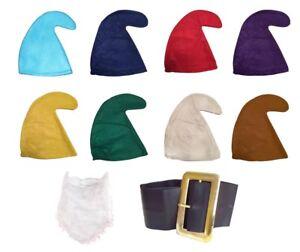 SEVEN DWARFS/DWARVES SMURF HAT GNOME (HAT, BEARD & BELT SET) FANCY DRESS PARTY