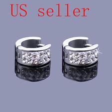 Pair Men Stainless Steel Rhinestone Huggie Hoop Stud Earrings