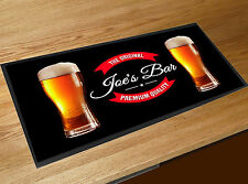 Personalised bar runner beer Label glasses Pub Bar mat Parties Home bars
