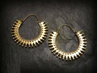 Tribal Brass Earrings Gypsy Hoop Ethnic Festival Indian boho Jewellery W63