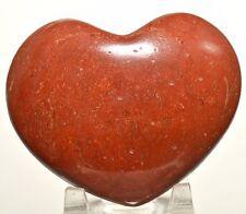 "3"" Brecciated Red Jasper Puffy Heart Crystal Quartz Mineral Palm Stone - India"