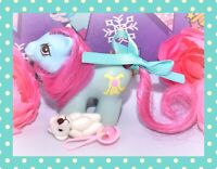 ❤️My Little Pony MLP G1 Vtg Newborn BABY SHAGGY Teddy Bear Blue Pink❤️