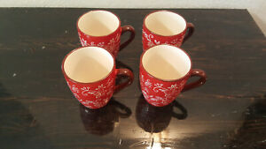 Temp-Tations Red Floral Lace Coffee Mugs Ceramic 16oz Cup Hand Painted Lot of 4