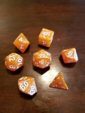 Orange Pearl Dice Set 7 Dice Set Polyhedral DND Dungeons & Dragons Pathfinder