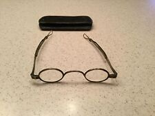 Rare Antique Vintage Metal Rim Glasses W/ Adjustable Arms W/ Old Case