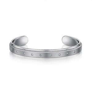 Titanium Silver Bangle CZ Bracelet Matt & Polished CZ Stones Bangle Bracelet