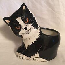 New listing Cats by Nina Lyman Black White Tuxedo Porcelain Figurine Vase Planter