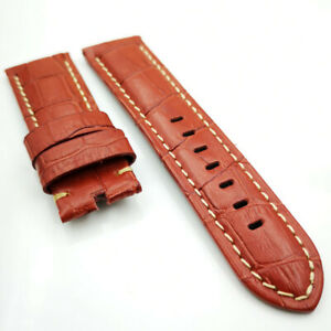 24mm Red Bamboo Leather Khaki Stitch Band Strap for PAM LUNMINOR RADIOMIR