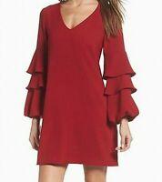 Charles Henry Ruffled Bell Sleeve V-Neck Shift Dress, Red, Size:XL,  #O