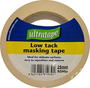 Ultratape Low Tack Masking Tape DIY Painting Various Sizes 25 & 50mm 6,12,24Roll