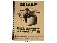 """Foley Belsaw 12"""" Model 910 / 912 Planer/Molder Operators Manual Parts List  *815"""