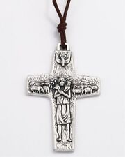 "NEW AUTHENTIC POPE FRANCIS VEDELE PECTORAL 2"" CROSS PENDANT ON BROWN CORD"