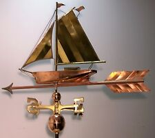 Beautiful copper And Brass Sailboat On Arrow weathervane, Complete Setup + mount