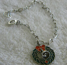 """Sterling Silver Wreath Charm (movable bell) & 7.5"""" Long Charm Bracelet 925"""