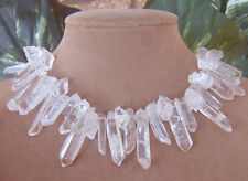 CRYSTAL ROCK WINTER CLEAR QUARTZ PENDANT STATEMENT NECKLACE BIG WEDDING JEWELRY