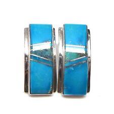 Navajo Handmade Turquoise Inlay Sterling Silver Post Earrings
