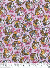 Bunnies & Baskets (Light Purple) Easter Quilt Fabric - Free Shipping - 1 Yard