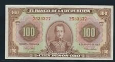 COLOMBIA BANKNOTES $100 1953 7 DIGITS