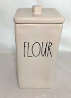 """Rae Dunn Ceramic Long Rectangle """"FLOUR"""" Canister  Brand New!"""