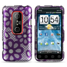 For Sprint HTC EVO 3D Protector HARD Case Snap on Phone Cover Purple Lace Flower
