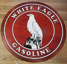 """WHITE EAGLE GASOLINE 28"""" ROUND GAS STATION ADVERTISING HEAVY DUTY METAL ADV SIGN"""
