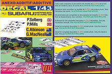 ANEXO DECAL 1/43 SUBARU IMPREZA SOLBERG & ATKINSON N.ZEALAND 2006 5th & DnF (05)