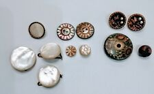 Twelve(12) Antique Vintage Sewing Buttons Mother of Pearl, Embedded Pearls Beads