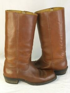 "Vintage Campus Brown Leather Boots US womens 7 B 1.5"" heel square toe"