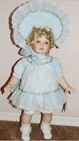 NEW ANGELA 24 in BLUE BY ALI HANSEN PORCELAIN DOLL FREE STANDING LARGE TODDLER