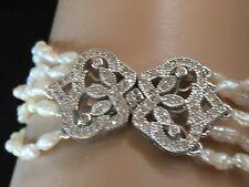 5 Strand Rice Pearl Sterling Silver & Cubic Zirconia Bracelet,Vintage