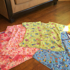 4 medical scrub tops, size small, fish, butterfly, pink, blue Women's Uniform