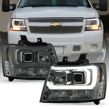 2007-2014 Chevy Suburban Tahoe Avalanche LED DRL Tube Projector Headlights Smoke