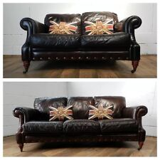 VICTORIAN STYLE CIGAR BROWN ANTIQUE LEATHER CHESTERFIELD SUITE 3&2 SEATER SOFAS