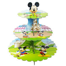 Mickey Mouse Cardboard Cupcake 3-Tier Stand Kids Show Children Birthday Parties