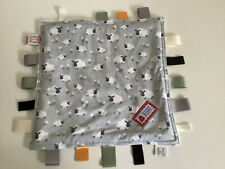 Baby Snuffle Snuggler Tag Blanket Grey White Sheep
