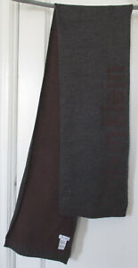 "Calvin Klein Men's Scarf 100% Acrylic 62"" Long Dark Gray Burgundy Wine Maroon"
