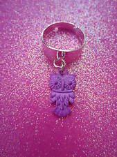 Adjustable Purple Owl Charm Dangle Ring